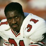 Atlanta Falcons running back William Andrews on the bench during a 14-7 loss to the Los Angeles Rams on October 26, 1986, at Anaheim Stadium in Anaheim, California. Atlanta Falcons vs Los Angeles Rams - October 26, 1986 Anaheim Stadium Anaheim, California United States October 26, 1986 Photo by Peter Brouillet/WireImage