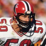 Falcons linebacker Buddy Curry (50) waits for the snap during an NFL game against the San Francisco 49ers on Sunday, Nov. 23, 1986, in San Francisco. The 49ers won the game, 20-0. (AP Photo/Greg Trott)